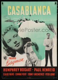 3t557 CASABLANCA Danish '46 Humphrey Bogart, Ingrid Bergman, Paul Henreid, different Stilling art!