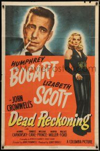 3t158 DEAD RECKONING style A 1sh '47 cool art of smoking Humphrey Bogart, full-length Lizabeth Scott