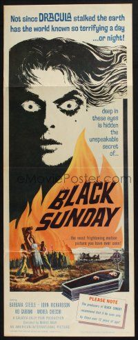 3w467 BLACK SUNDAY insert 61 Mario Bava deep in this demons eyes is a hidden unspeakable secret