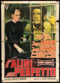 4c011 BEYOND A REASONABLE DOUBT Italian 1p '56 Fritz Lang, Olivetti art of Dana Andrews & Fontaine!