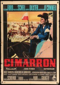 4c026 CIMARRON Italian 1p '60 Anthony Mann, different art of Glenn Ford & Maria Schell by Nistri!
