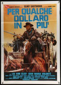 4c049 FOR A FEW DOLLARS MORE Italian 1p R80s different art of Eastwood on stagecoach by Ciriello!