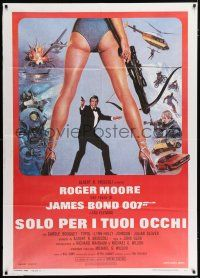 4c050 FOR YOUR EYES ONLY Italian 1p '81 Roger Moore as James Bond 007, art by Brian Bysouth!