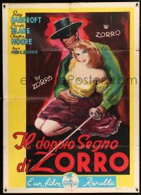 4c054 GHOST OF ZORRO Italian 1p '51 Marino art of Clayton Moore as the most famous masked hero!