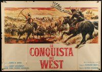 4c063 HOW THE WEST WAS WON horizontal Italian 1p '64 John Ford classic, cool Reynold Brown art!