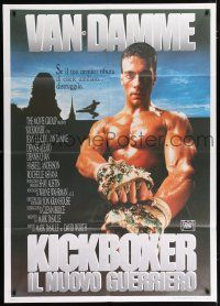 4c070 KICKBOXER Italian 1p '89 best image of Jean-Claude Van Damme with crushed glass fists!