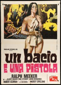 4c071 KISS ME DEADLY Italian 1p R72 Spillane, Aldrich, different Symeoni art of naked girl with gun!
