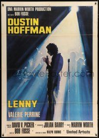 4c078 LENNY Italian 1p '75 Serafini art of Dustin Hoffman as comedian Lenny Bruce at microphone!