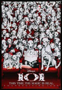 4d013 101 DALMATIANS teaser DS 1sh '96 Walt Disney live action, wacky image of dogs in theater!