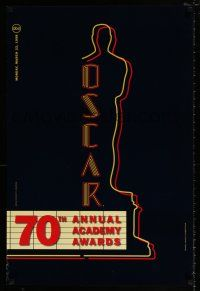 4d002 70TH ANNUAL ACADEMY AWARDS 1sh '98 cool image of the Oscar Award as a neon theater sign!