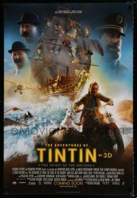 4d032 ADVENTURES OF TINTIN int'l advance DS 1sh '11 Steven Spielberg's version of the Belgian comic!