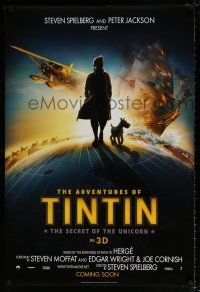 4d033 ADVENTURES OF TINTIN int'l teaser DS 1sh '11 Steven Spielberg's version of the Belgian comic!