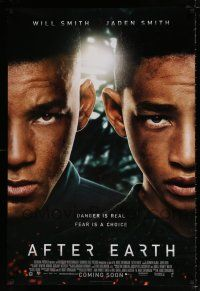 4d035 AFTER EARTH faces style int'l advance DS 1sh '13 image of Will Smith & son Jaden Smith!