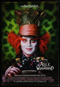 4d039 ALICE IN WONDERLAND advance DS 1sh '10 Tim Burton, Johnny Depp as the Mad Hatter!