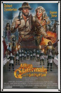 4d043 ALLAN QUATERMAIN & THE LOST CITY OF GOLD 1sh '86 J.D. art of Chamberlain, Sharon Stone!
