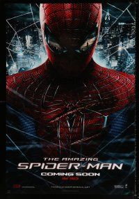 4d046 AMAZING SPIDER-MAN int'l teaser DS 1sh '12 Andrew Garfield in title role over city!