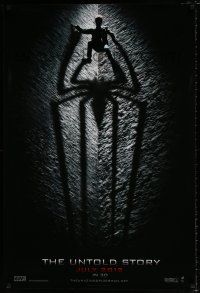 4d047 AMAZING SPIDER-MAN int'l teaser DS 1sh '12 shadowy image of Andrew Garfield climbing wall!