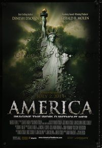 4d050 AMERICA: IMAGINE THE WORLD WITHOUT HER advance DS 1sh '14 Statue of Liberty crumbling!