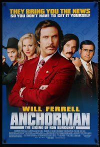 4d055 ANCHORMAN DS 1sh '04 The Legend of Ron Burgundy, image of newscaster Will Ferrell!