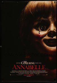 4d058 ANNABELLE int'l advance DS 1sh '14 creepy horror image of possessed doll w/ bloody tear!