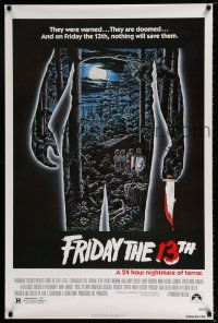 4d275 FRIDAY THE 13th 1sh '80 great Alex Ebel art, slasher classic, 24 hours of terror!
