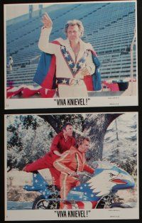 4e032 VIVA KNIEVEL 12 8x10 mini LCs '77 the greatest daredevil & his motorcycle, Hutton, Gene Kelly