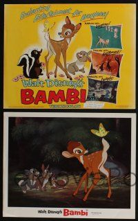 4k043 BAMBI 9 LCs R66 Walt Disney cartoon deer classic, great images with Thumper & Flower!