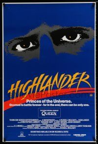 4p060 HIGHLANDER Aust 1sh '86 super close up art of immortal Christopher Lambert's eyes!