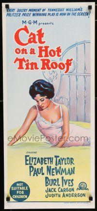 4p066 CAT ON A HOT TIN ROOF Aust daybill R66 art of Elizabeth Taylor in nightie on bed!