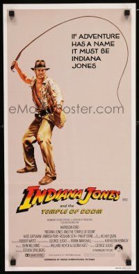 4p069 INDIANA JONES & THE TEMPLE OF DOOM Aust daybill '84 adventure is Harrison Ford's name!
