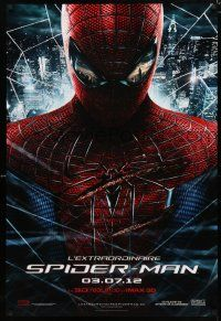 4p016 AMAZING SPIDER-MAN teaser DS Canadian 1sh '12 Andrew Garfield over city!