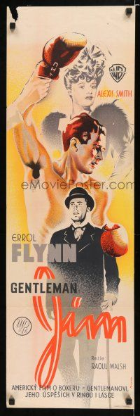 4p007 GENTLEMAN JIM Czech 12x37 '42 different art of Errol Flynn as boxer James J. Corbett!