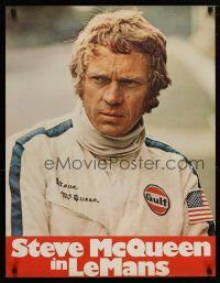 4p077 LE MANS German '71 close up of race car driver Steve McQueen in personalized uniform!
