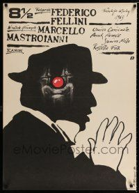 4p042 8 1/2 Polish 27x37 R89 Federico Fellini classic, cool different art by Andrzej Pagowski!