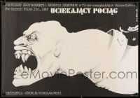 4p047 RUNAWAY TRAIN Polish 27x38 '88 completely different disturbing artwork by Jakub Erol!