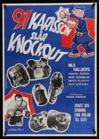 4p050 91 KARLSSON SLAR KNOCKOUT Swedish '57 Gosta Lewin, cool boxing art and images!