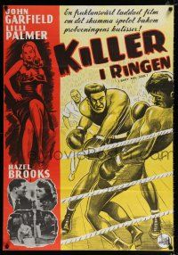 4p051 BODY & SOUL Swedish R60 boxing, John Garfield, art of Lilli Palmer & sexy Hazel Brooks!