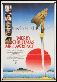 4p055 MERRY CHRISTMAS MR. LAWRENCE Swedish '83 really cool art of David Bowie & cast by Makhi!