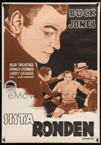 4p056 UNMARRIED Swedish '41 Helen Twelvetrees, boxing ring art of Buck Jones by Gosta Aberg!