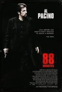 4r014 88 MINUTES advance DS 1sh '08 Al Pacino has to solve his own murder before it happens!