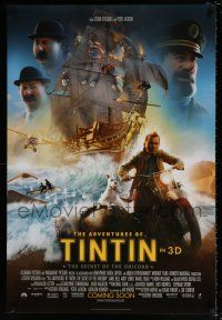 4r021 ADVENTURES OF TINTIN int'l advance DS 1sh '11 Spielberg's CGI version of the Belgian comic!