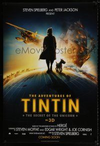 4r022 ADVENTURES OF TINTIN int'l teaser DS 1sh '11 Steven Spielberg's CGI version of Belgian comic!