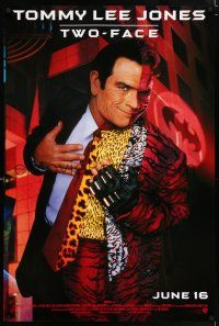 4r069 BATMAN FOREVER advance 1sh '95 cool image of Tommy Lee Jones as Two-Face!