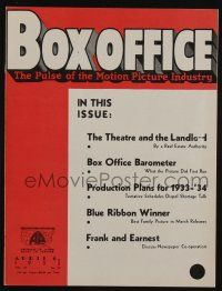 4s036 BOX OFFICE exhibitor magazine April 6, 1933 box office grosses of first run totals!