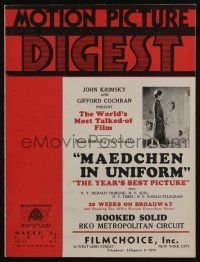 4s025 MOTION PICTURE DIGEST exhibitor magazine Mar 9, 1933 most talked about Maedchen in Uniform!