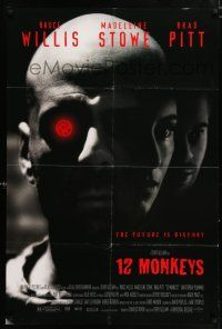 4t007 12 MONKEYS DS 1sh '95 Bruce Willis, Brad Pitt, Stowe, Terry Gilliam directed sci-fi!