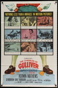 4t002 3 WORLDS OF GULLIVER 1sh '60 Ray Harryhausen fantasy classic, nothing less than a miracle!