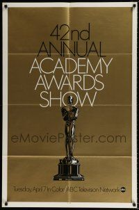 4t010 42ND ANNUAL ACADEMY AWARDS foil 1sh '70 wonderful image of the Oscar statue!