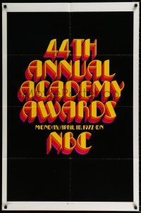 4t012 44th ANNUAL ACADEMY AWARDS 1sh '72 NBC television, cool title design!