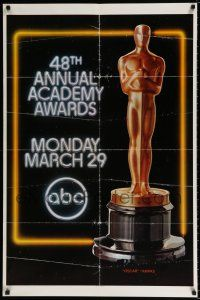 4t013 48TH ANNUAL ACADEMY AWARDS 1sh '76 huge image of Oscar statuette, ABC Television!